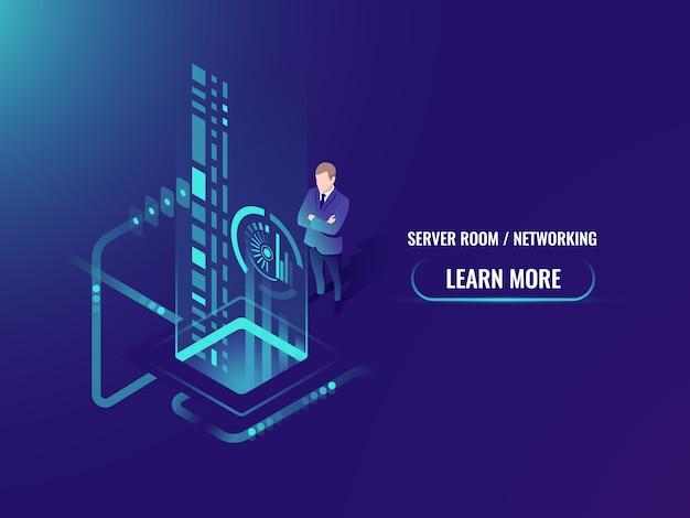 Procesamiento de flujo de datos isométricos, información segura en concepto de servidor de nube