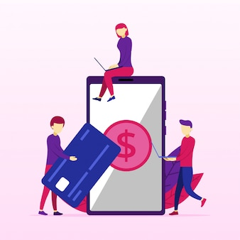 Procesamiento de pagos bancarios móviles desde tarjeta de crédito en pantalla.