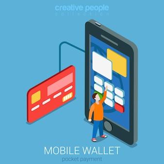 Procesamiento de transacciones de pago de billetera móvil isométrica plana