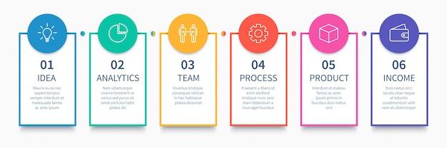 Procesar columnas infográficas. diagrama de pasos de negocios, diagrama de diseño de flujo de trabajo y camino desde la idea hasta la presentación de ingresos