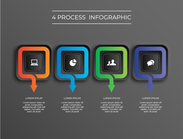Proceso de 4 cuadrados de infografía moderna de tema oscuro vector premium