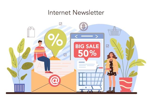Proceso de actividades comerciales. correo electrónico promocional. descuento y fidelización