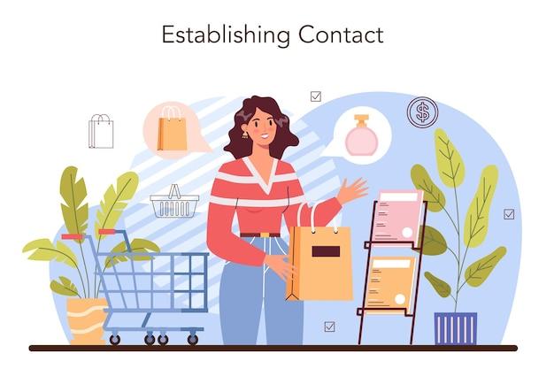 Proceso de actividades comerciales. establecer un contacto con un cliente