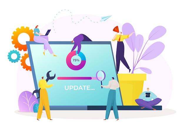 Proceso de actualización del sistema, progreso del software digital en la ilustración del dispositivo digital