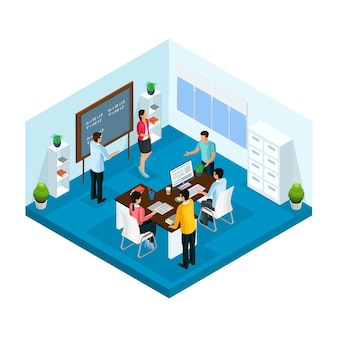 Proceso de aprendizaje isométrico en la plantilla de la universidad con estudiantes que estudian e intercambian ideas en el aula aislada