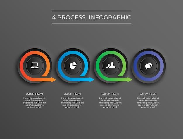 Proceso de círculo 4 de infografía moderna de tema oscuro vector premium