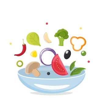 Proceso de cocción. voltear la comida en un tazón. diseño para clases de cocina o cocina casera.