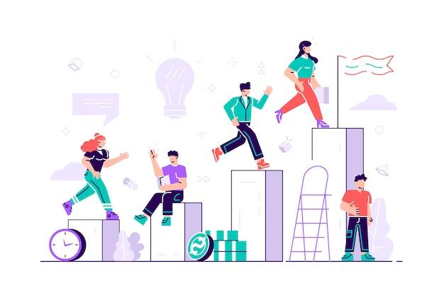 Proceso competitivo, el hombre y la mujer de negocios corren hacia su objetivo, suben la motivación