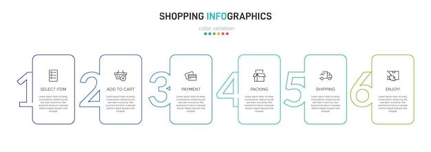 Proceso de compra con 6 pasos sucesivos en la línea de tiempo. seis elementos infográficos coloridos