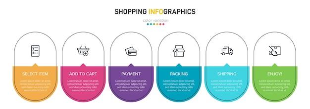 Proceso de compra con sucesivos pasos cronológicos. seis elementos infográficos coloridos