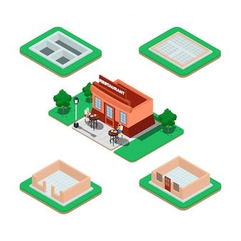 Proceso de construcción de casas isométricas.