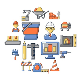 Proceso de construcción conjunto de iconos, estilo de dibujos animados