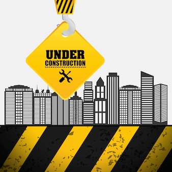 Proceso de construcción cuelgue signo de grúa en construcción