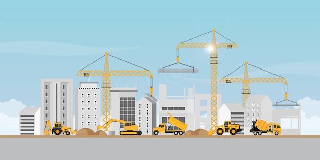 Proceso de construcción del gran edificio del área de dormitorios.