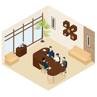Proceso de contratación empresarial isométrica