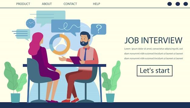 Proceso de contratación de la página de aterrizaje de la entrevista de trabajo