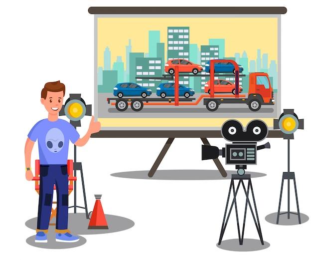 Proceso de creación de películas, ilustración plana de filmación