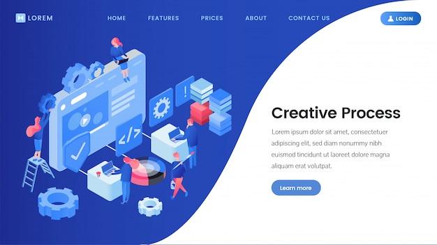 Proceso de creatividad en la página de isométrica