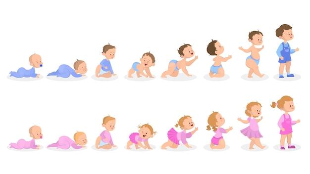 Proceso de crecimiento del bebé. desde recién nacido hasta preescolar