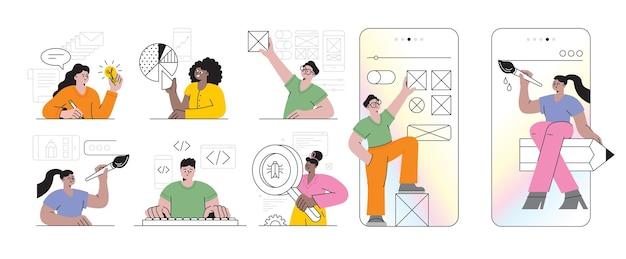 Proceso de desarrollo de aplicaciones móviles concepto abstracto conjunto de ilustraciones vectoriales reaccionar aplicación móvil nativa ux