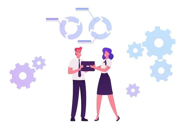 Proceso de desarrollo de capacidades mediante el cual los individuos y las organizaciones obtienen, mejoran y retienen habilidades. ilustración plana de dibujos animados