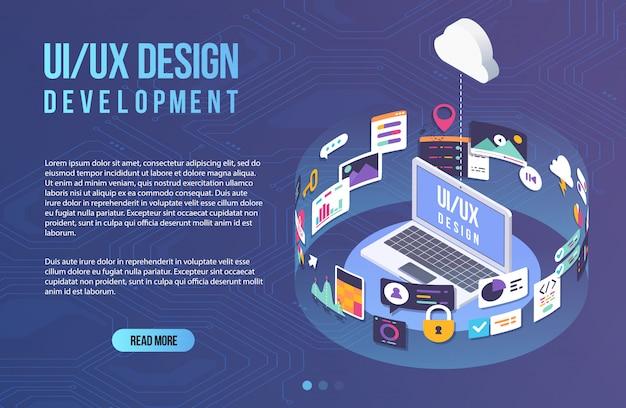 El proceso de desarrollo de interfaz para laptop. plantilla de diseño plano para aplicaciones móviles y desarrollo de diseño de sitios web con elementos ui ux incluidos.