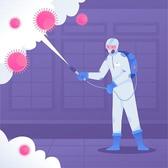 Proceso de desinfección de virus