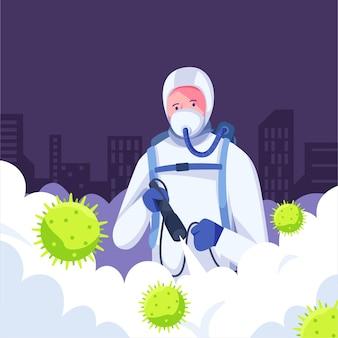 Proceso de desinfección de virus.