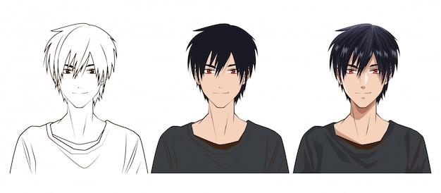 Proceso de dibujo del diseño del ejemplo del vector del carácter del estilo del anime del hombre joven
