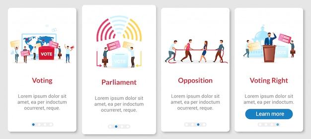 Proceso de elección que incorpora la pantalla de la página de la aplicación móvil con plantilla. votando por el presidente. pasos paso a paso del sitio web con caracteres planos