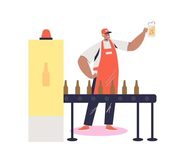 Proceso de embotellado de cerveza en la fábrica de cerveza o ilustración de producción de cervecería