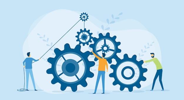 Proceso empresarial y concepto de trabajo en equipo empresarial