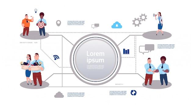Proceso empresarial infografía sobre las relaciones del grupo empresarial.