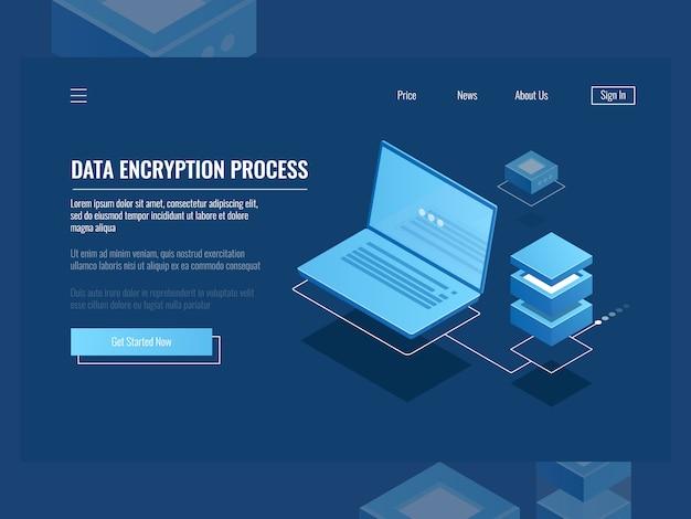Proceso de encriptación de datos, protección de información digital, sala de servidores, almacenamiento en la nube.