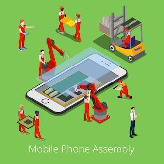 Proceso de ensamblaje de teléfonos móviles isométricos.