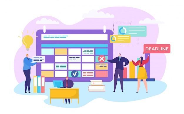 Proceso de equipo de negocios, ilustración vectorial. los empleados de la empresa hacen una planificación en el calendario, esquema. gestión del tiempo.