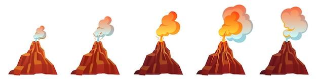 Proceso de erupción volcánica en diferentes etapas.