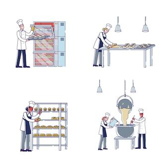 Proceso de fabricación en personajes de concepto de panadería amasar masa hacer panadería