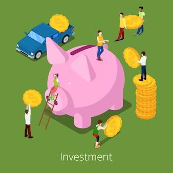 Proceso financiero de inversión isométrica.