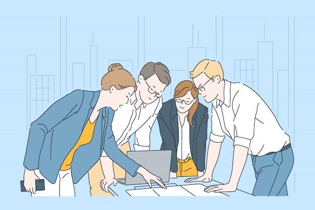 Proceso de flujo de trabajo, concepto de planificación empresarial