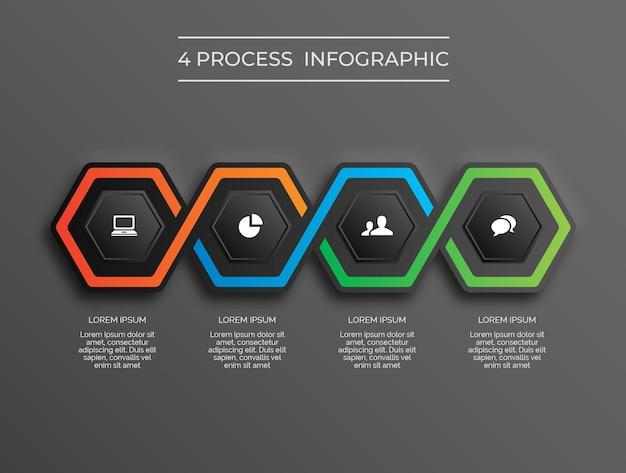 Proceso de hexágono 4 de infografía moderna de tema oscuro vector premium