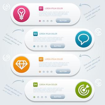 Proceso de infografía 4 pasos con iconos