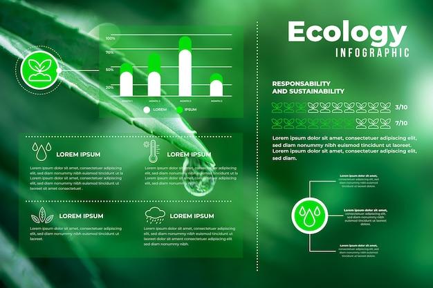 Proceso de infografía ecología con foto