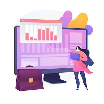 Proceso de inventario. operación financiera. informes de impuestos, software de gestión, programa empresarial. mujer haciendo contabilidad y auditoría de personaje de dibujos animados. ilustración de metáfora de concepto aislado de vector