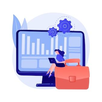 Proceso de inventario. operación financiera. informes de impuestos, software de gestión, programa empresarial. mujer haciendo contabilidad y auditoría de personaje de dibujos animados.