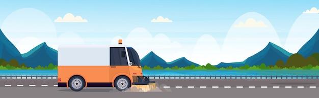 Proceso de limpieza de la máquina barredora de calles vehículo industrial concepto de servicio de carretera de asfalto río montañas paisaje horizontal banner plano