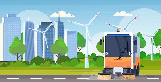 Proceso de limpieza de la máquina barredora de calles, vehículo industrial, concepto de servicio de carretera urbana, tubos de viento, paisaje urbano moderno, fondo plano horizontal