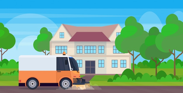 Proceso de limpieza de la máquina barredora de calles, vehículo industrial, concepto de servicio de carreteras urbanas, construcción de casas modernas, paisaje de fondo, ilustración vectorial plana horizontal