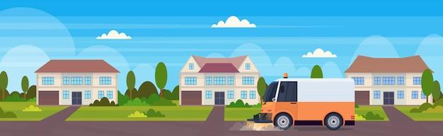 Proceso de limpieza de la máquina barredora de calles, vehículo industrial, servicio de carreteras urbanas, concepto de edificio moderno, casa adosada, campo, plano horizontal