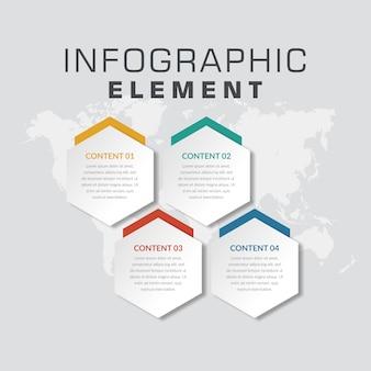 Proceso de negocio de elemento de infografía abstracta de cuatro puntos
